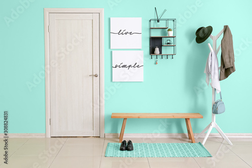 Stylish interior of hall in turquoise color Canvas-taulu