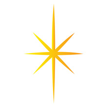 Christmas Star Icon. Christmas Tree Tip - Vector Illustration
