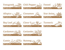 Labels And Icons Of Spices.
