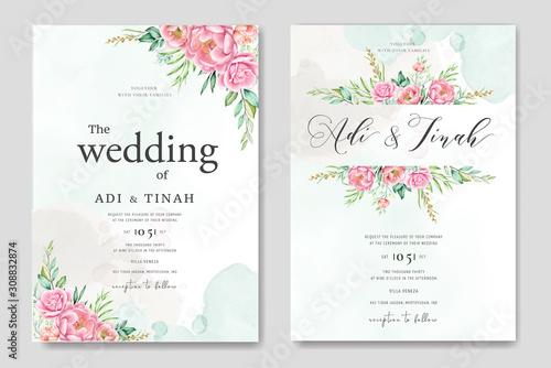 Fototapeta beautiful roses and peonies wedding card template obraz na płótnie