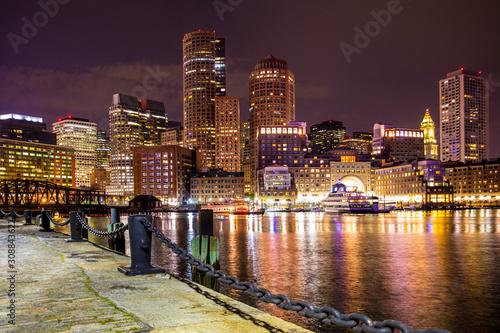 Fotografie, Obraz Boston Massachusetts skyline at night