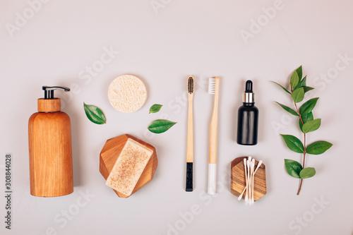 Zero waste self-care products. Flat lay style. Fototapeta