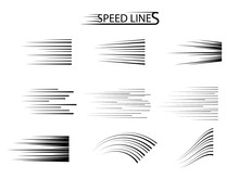 Speed Line Set. Vector Design Elements Isolated On Light Background.