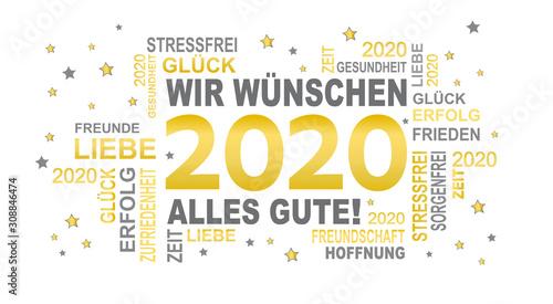 Fototapeta 2020 - gute wünsche in gold mit sternen
