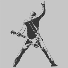 Vector Drawing. Silhouette Of Man With Guitar Electric. - Vector