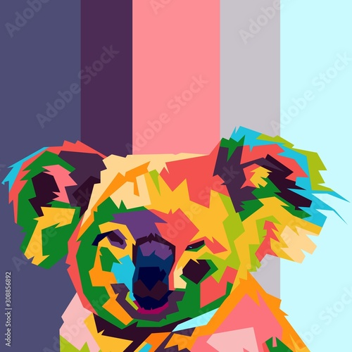 Canvas Print koala face pop art illustration. colorful koala.
