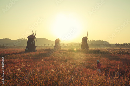 Beautiful landscape and traditional windmills, incheon South Korea, Sorae ecology wetland park and Morning sky.