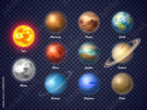 Fotografiet Colorful sun, moon and nine planets of solar system isolated on transparent background