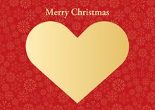 キラキラ雪の結晶と赤と金のハートのクリスマスフレーム_4