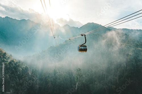 Fototapeta Cable car view on mountain landscape at Fansipan mountain in sapa, vietnam obraz