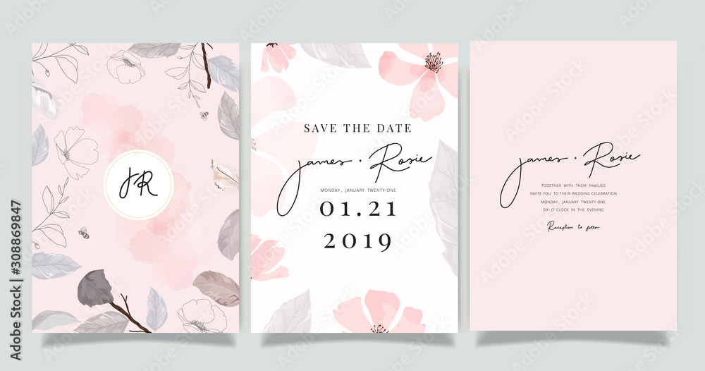 Fototapeta  Luxury marble Wedding logo and Invitation set,  invite thank you, rsvp modern card Design in pink and gray flower with leaf greenery branches  decorative Vector elegant rustic template