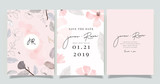 Fototapeta Kwiaty -  Luxury marble Wedding logo and Invitation set,  invite thank you, rsvp modern card Design in pink and gray flower with leaf greenery branches  decorative Vector elegant rustic template