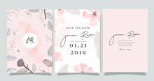 Luxury Marble Wedding Logo And Invitation Set,  Invite Thank You, Rsvp Modern Card Design In Pink And Gray Flower With Leaf Greenery Branches  Decorative Vector Elegant Rustic Template