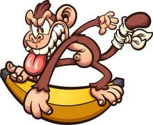 Crazy Cartoon Monkey Skating O...
