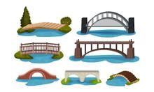 Different Bridges Collection, Wooden, Metal And Concrete Footbridges Vector Illustration