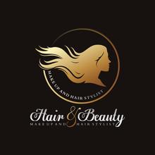 Hair And Beauty Luxury Logo Ve...