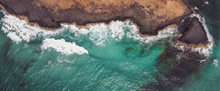 Aerial View Of Aqua Sea Waves ...