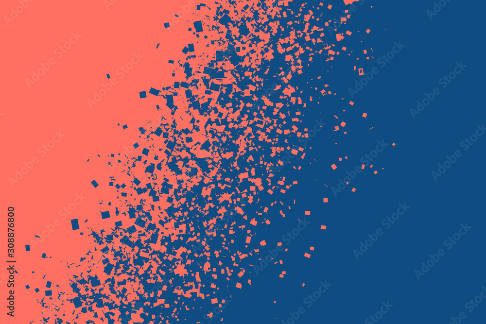Fototapeta Coral color breaking into pieces to form new classic blue. Change of the color of the year concept. Horizontal