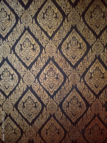 Kanok thai pattern in the temple of thailand