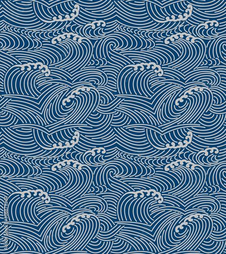 Japanese storm sea wave seamless pattern