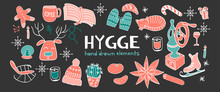 Horizontal Banner With Hygge Hand Drawn Elements. Outline Objects On Dark Background For Cozy Design. Vector Illustration.