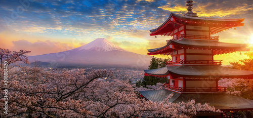 Fujiyoshida, Japan Beautiful view of mountain Fuji and Chureito pagoda at sunset Canvas Print