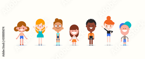 Obraz na plátně Smiling kids character in flat design style isolated