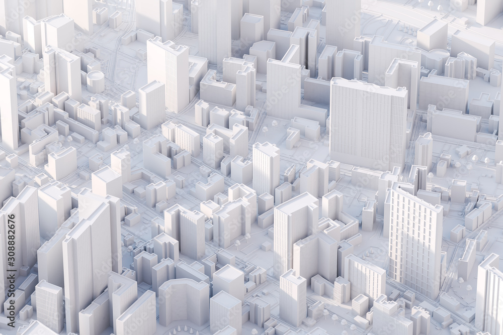 Fototapeta The layout of a modern city with a bird's-eye view. 3d rendering.