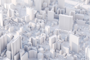 The layout of a modern city with a bird's-eye view. 3d rendering.
