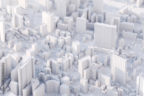 Fototapeta The layout of a modern city with a bird's-eye view. 3d rendering. obraz