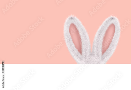 Easter greeting card with rabbit ears Fototapet