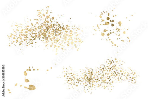 Watercolor gold Drop Splash Vector Hand drawn Canvas-taulu