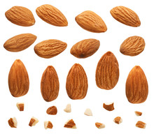 Close Up Of Almonds Nut With Pieces Isolated On White