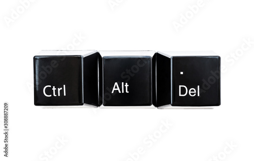 Photo Black color keyboard computer buttons Ctrl, Alt, Del closeup isolated on white background