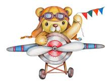 Watercolor Teddy Bear Pilot, Bear On Plane, Teddy Bear Flying. Isolated.