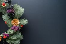 Christmas Wreath On Black Back...