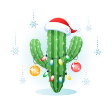 Christmas Greeting Card With A Cactus And Christmas Light. Vector Illustration.