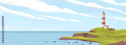 Lighthouse on seashore flat vector illustration. Island pharos, light house, seascape, signal building on seaside. Coastline landscape with beacon. Hope symbol, expectation, solitude concept.
