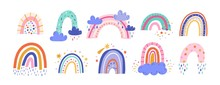 Cute Colorful Rainbows Set. Ch...