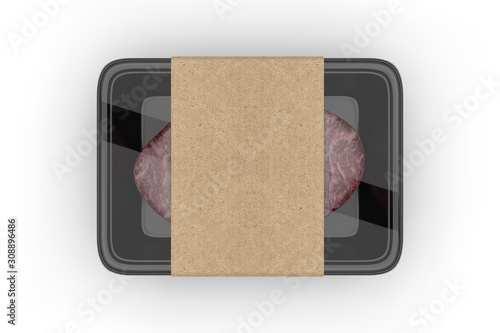 Meat food tray with blank paper label, 3d render illustration. Canvas Print