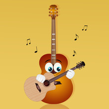 Illustration Of Guitar With Fu...