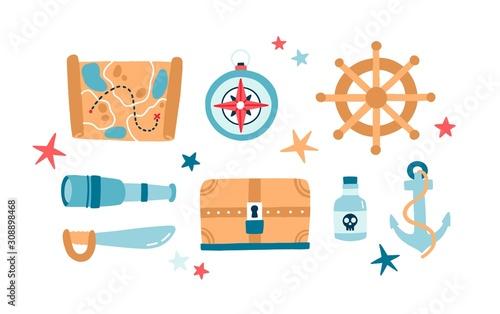 Fotografía Pirate items flat vector illustrations set