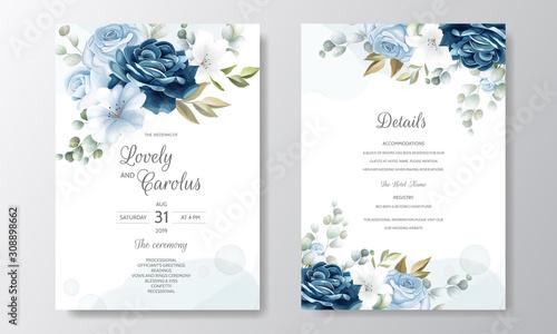Hand Drawn Floral Wedding Invitation Card Canvas-taulu