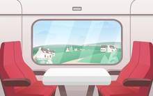 View From Train Window Flat Vector Illustration. Modern Railway Carriage Interior With Comfortable Red Chairs And Small Coffee Table. Train Compartment. Transportation, Travelling, Road.