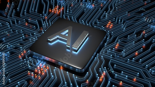 3D Rendering of computer mother board chip with AI text and glowing circuit background Canvas