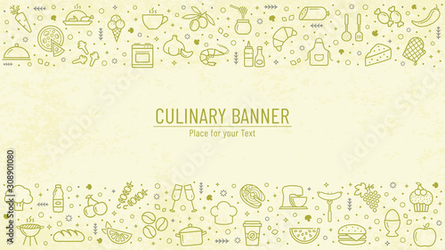 Cooking banner with line icons and copy space. Vector.