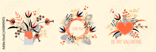 Cuadros en Lienzo Set of vector illustrations for the day of the saint valentine