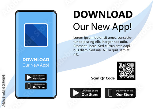 Photo Download our new app ,Mobile App Interface Concept Blank Illustration Vector