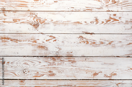 White wooden texture as background - 308901859