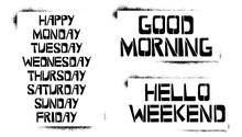 Set Of Weekdays Stencil Letter...